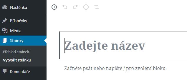 WordPress - vytvoření stránky